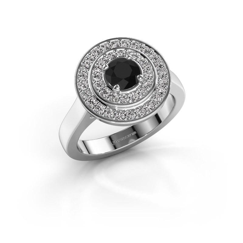 Ring Alecia 1 585 witgoud zwarte diamant 1.048 crt