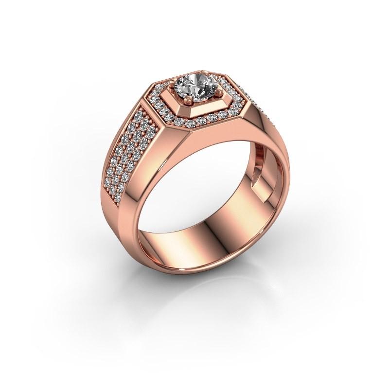 Heren ring Pavan 375 rosé goud zirkonia 5 mm