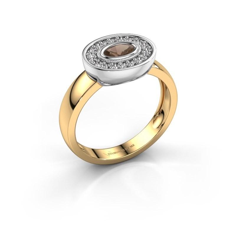 Ring Azra 585 gold smokey quartz 5x3 mm
