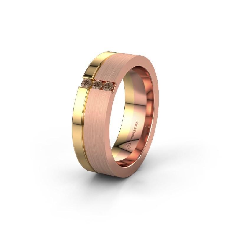 Trouwring WH0327L16B 585 rosé goud bruine diamant ±6x2 mm