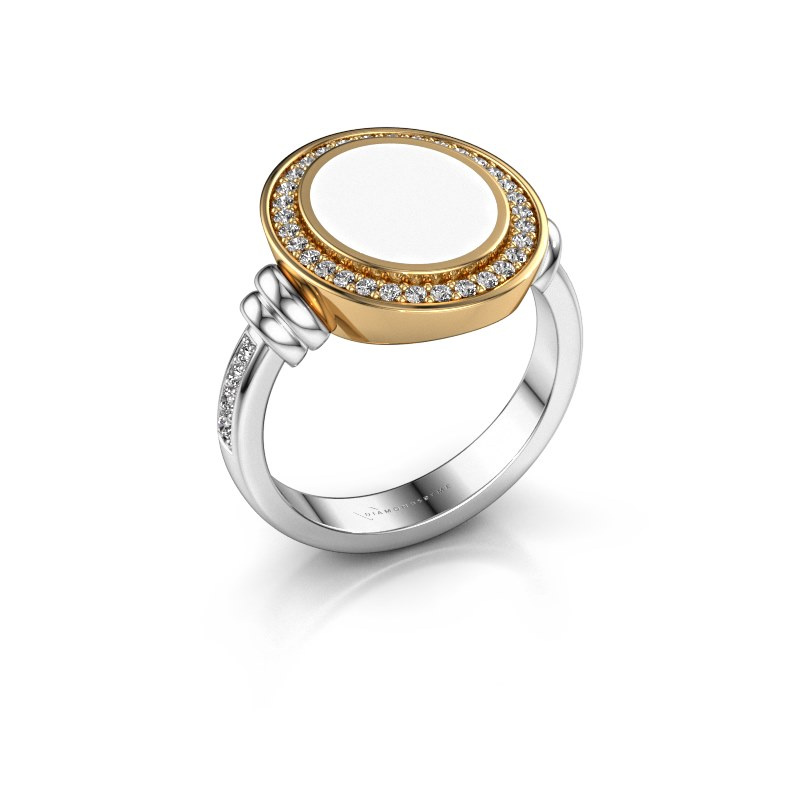 Zegelring Servie 2 585 witgoud witte emaille 12x10 mm