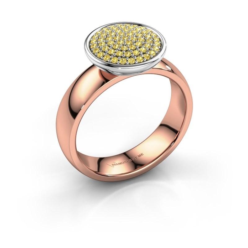 Ring Tilda 585 rosé goud gele saffier 1 mm
