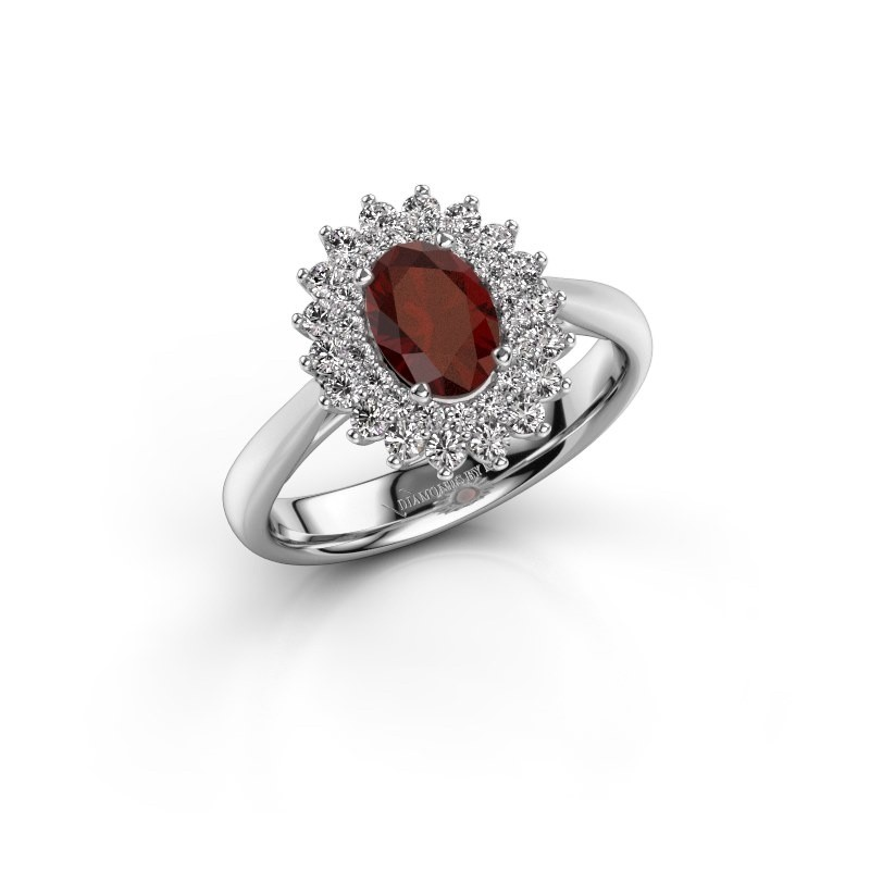 Engagement ring Alina 1 585 white gold garnet 7x5 mm