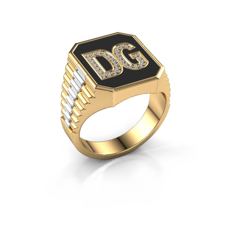 Rolex stijl ring Stephan 3 585 goud zirkonia 1 mm