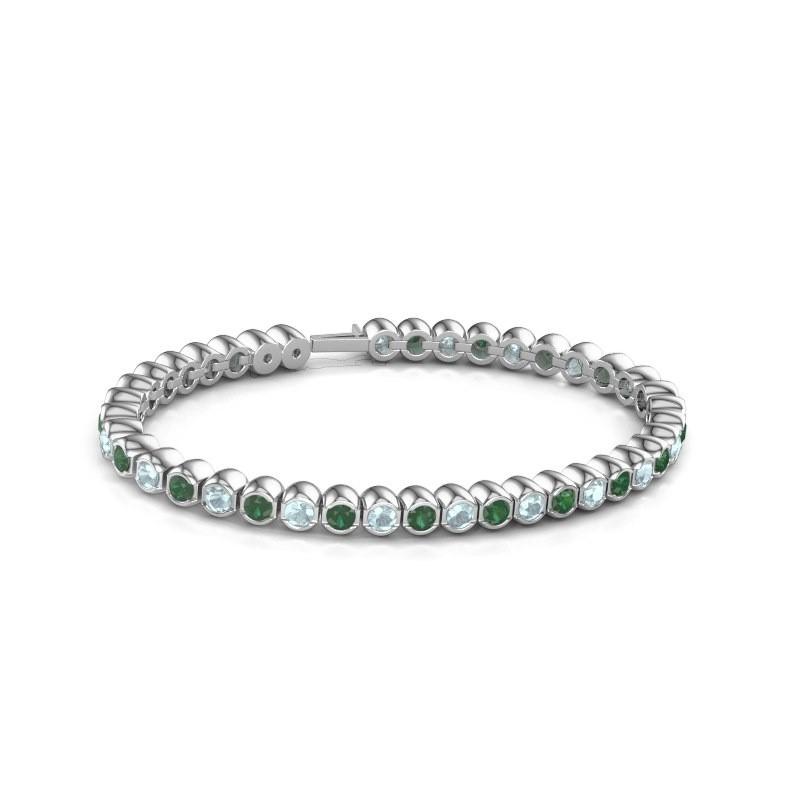 Tennisarmband Mellisa 585 witgoud smaragd 3.5 mm