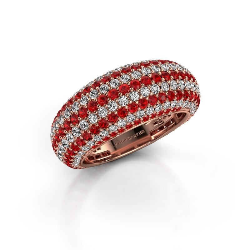 Ring Lyndia 375 rosé goud robijn 0.8 mm