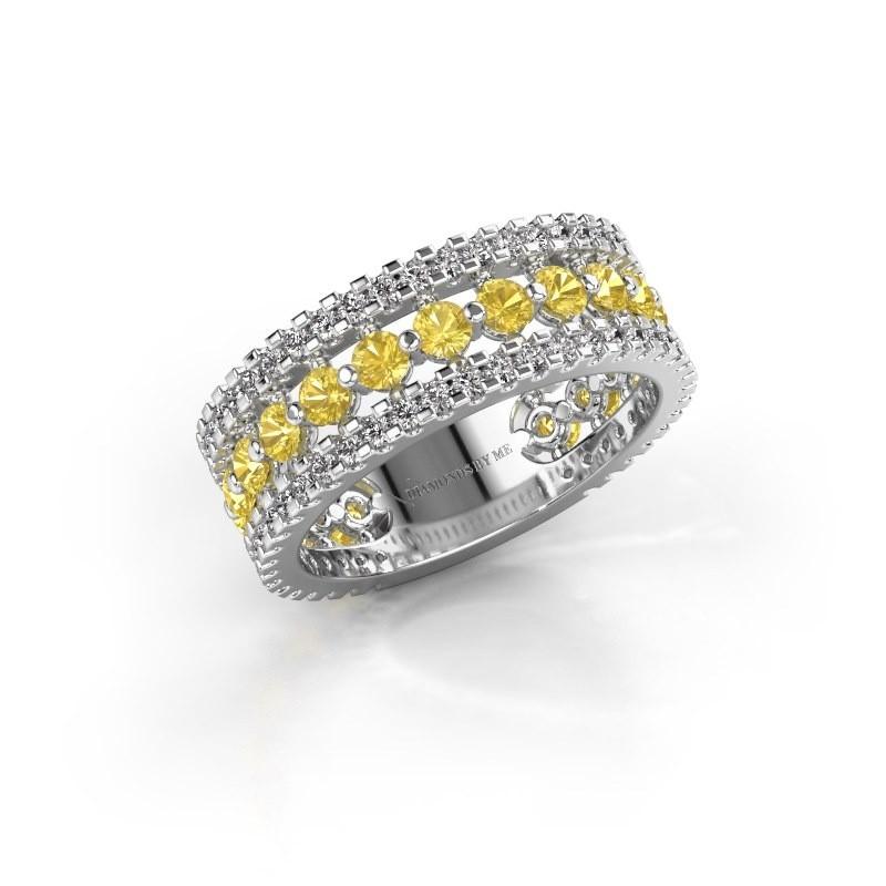 Verlobungsring Elizbeth 2 925 Silber Gelb Saphir 2.4 mm
