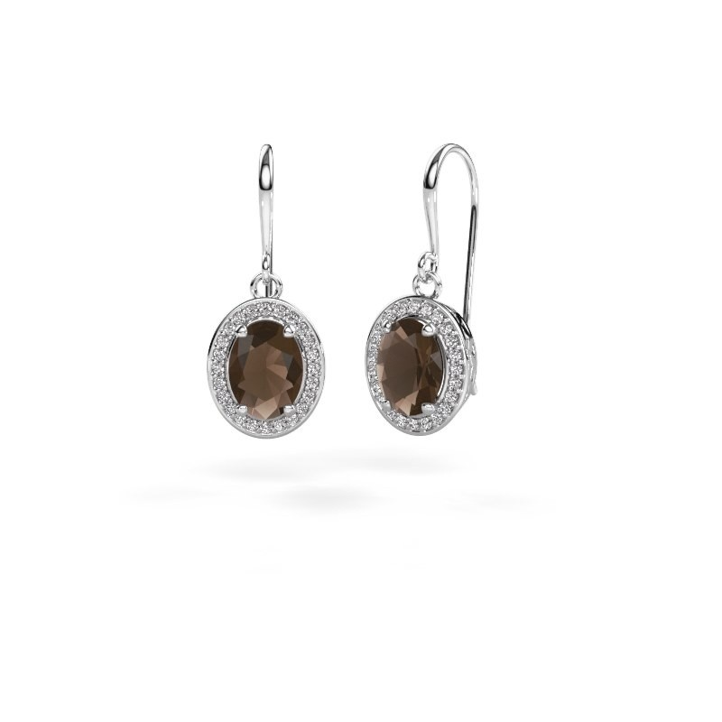 Drop earrings Latesha 950 platinum smokey quartz 8x6 mm