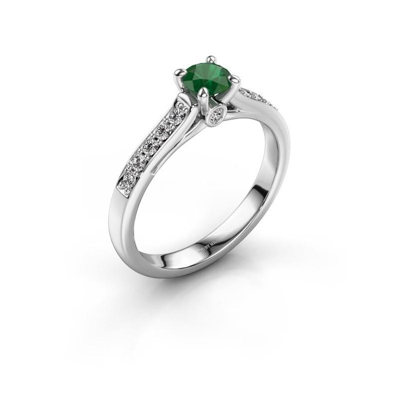 Verlovingsring Valorie 2 585 witgoud smaragd 4.7 mm