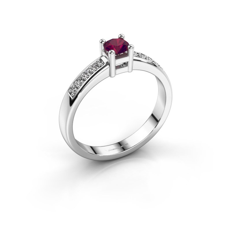 Engagement ring Eline 2 585 white gold rhodolite 3.7 mm
