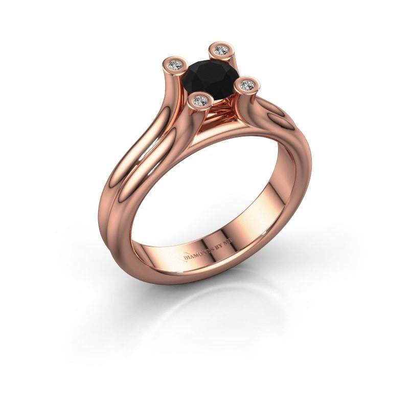 Belofte ring Stefanie 1 375 rosé goud zwarte diamant 0.60 crt