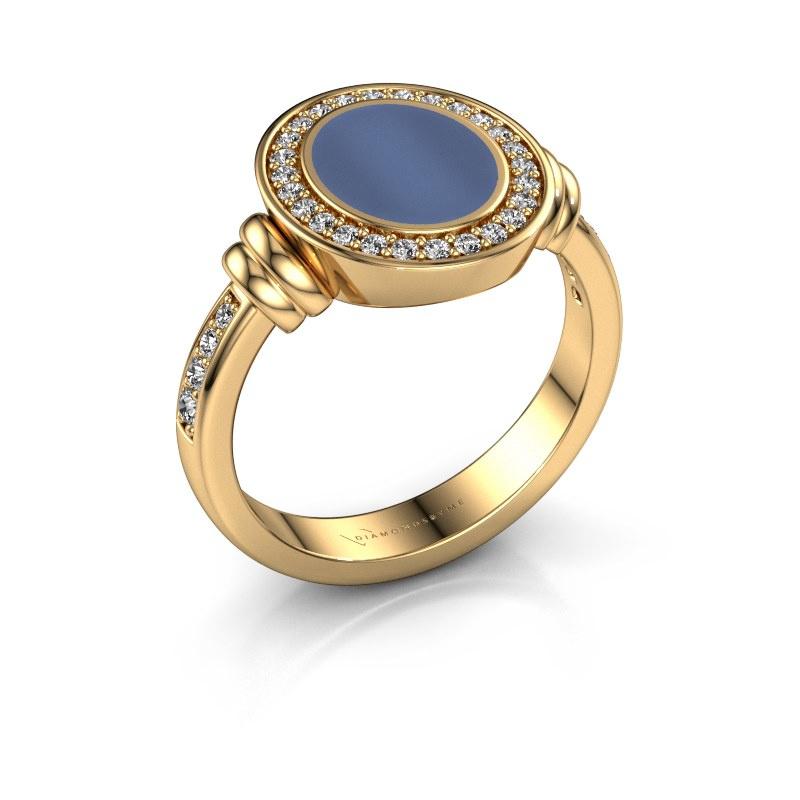 Signet ring Bailey 585 gold blue sardonyx 10x8 mm