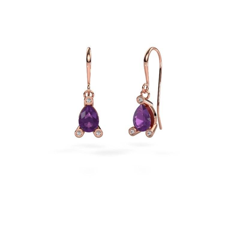 Drop earrings Bunny 1 375 rose gold amethyst 7x5 mm