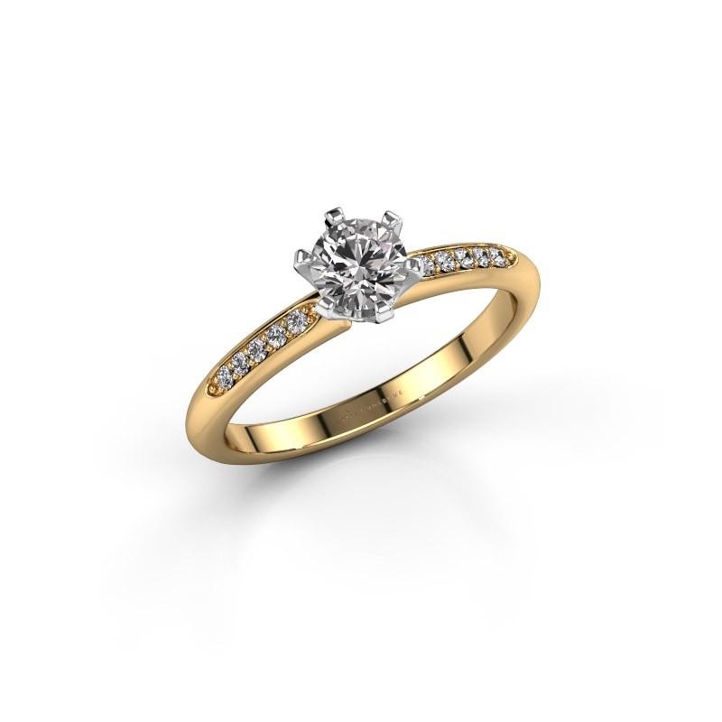 Bague de fiançailles Tiffy 2 585 or jaune diamant 0.40 crt