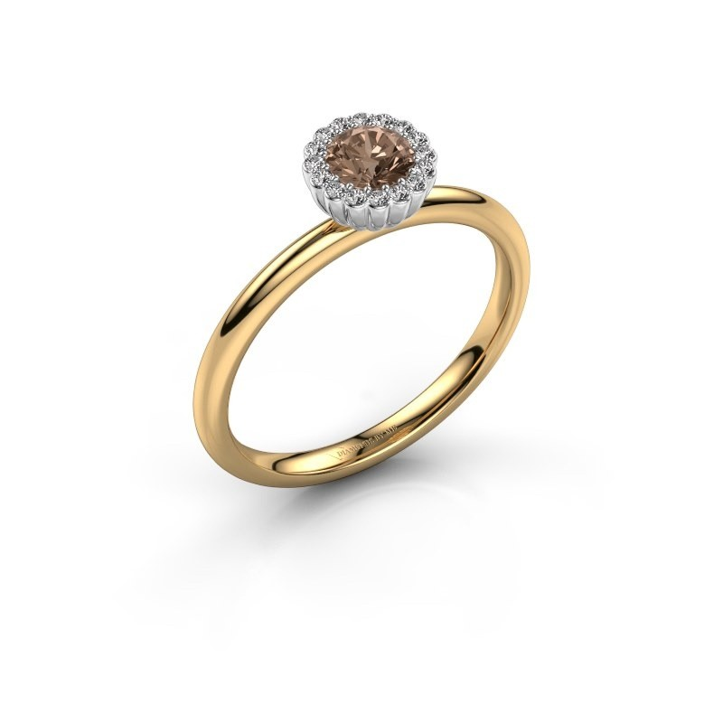 Engagement ring Queen 585 gold brown diamond 0.38 crt
