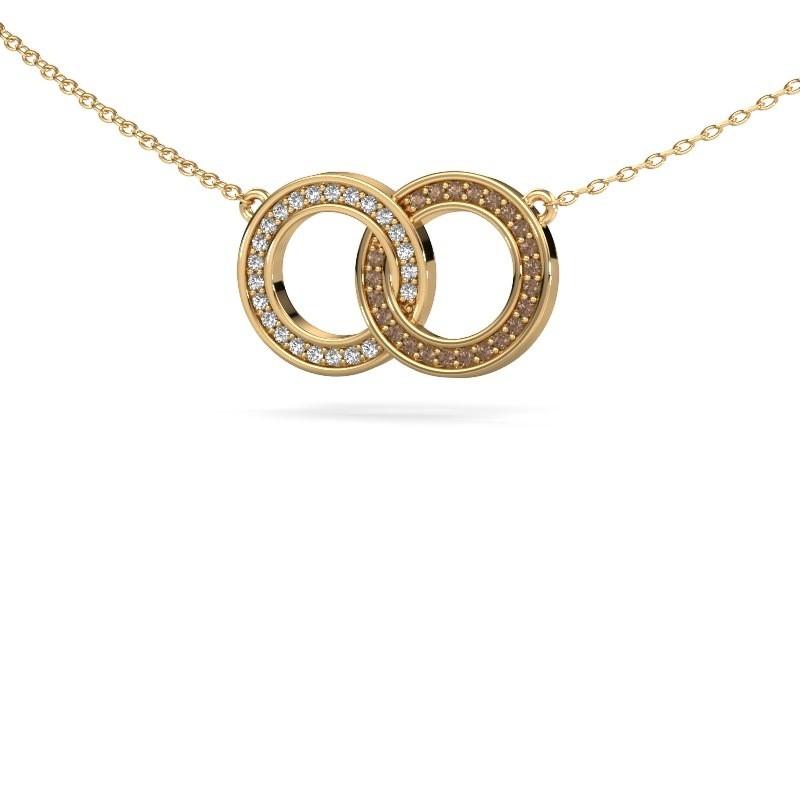 Ketting Circles 1 375 goud bruine diamant 0.23 crt