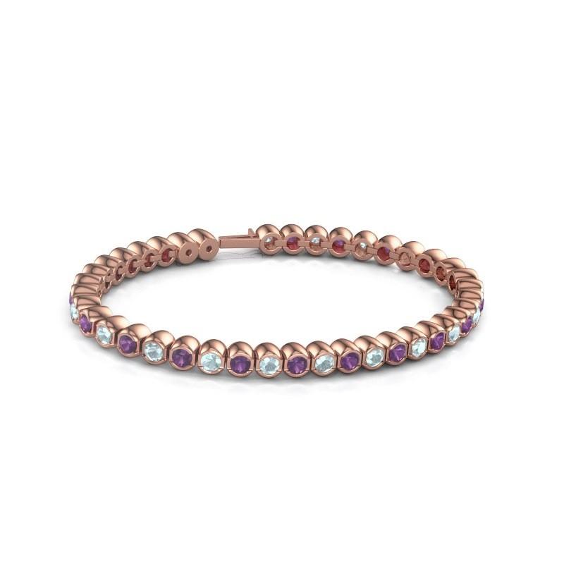 Tennisarmband Mellisa 375 rosé goud amethist 3.5 mm