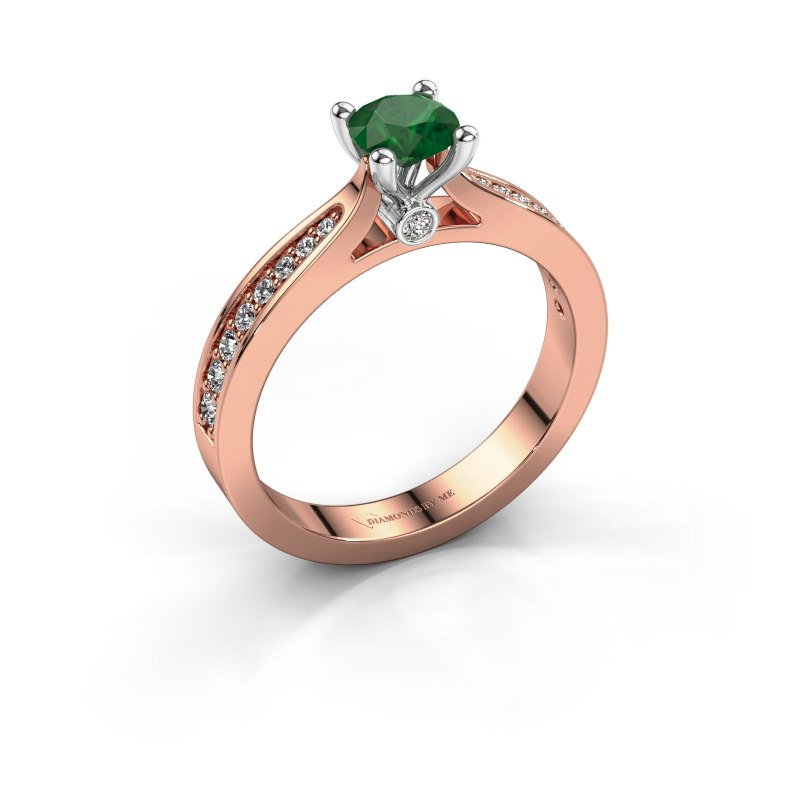 Engagement ring Evelien 585 rose gold emerald 5 mm