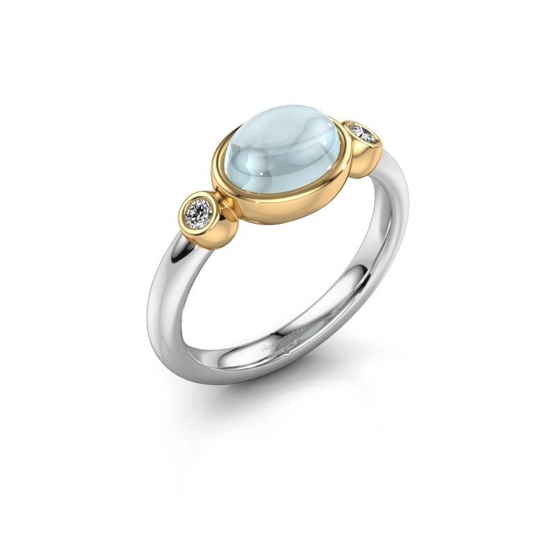 Ring Liane 585 witgoud aquamarijn 8x6 mm