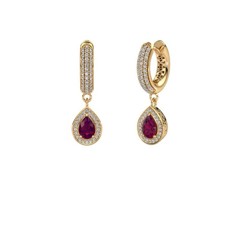 Drop earrings Barbar 2 585 gold rhodolite 6x4 mm