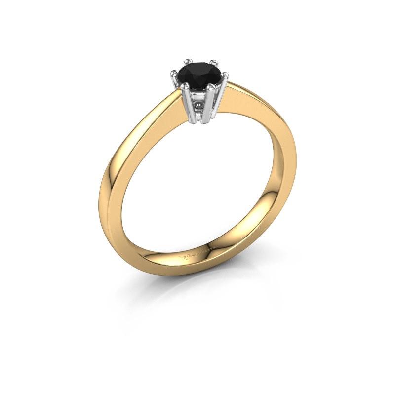 Bague de fiançailles Noortje 585 or jaune diamant noir 0.30 crt