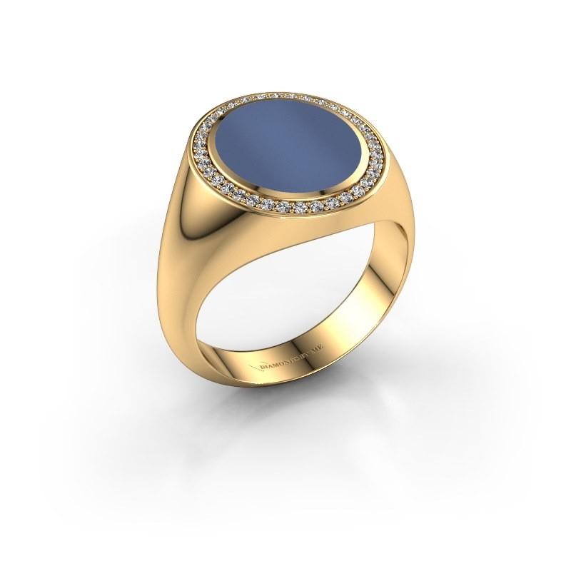 Zegel ring Adam 3 585 goud blauw lagensteen 13x11 mm