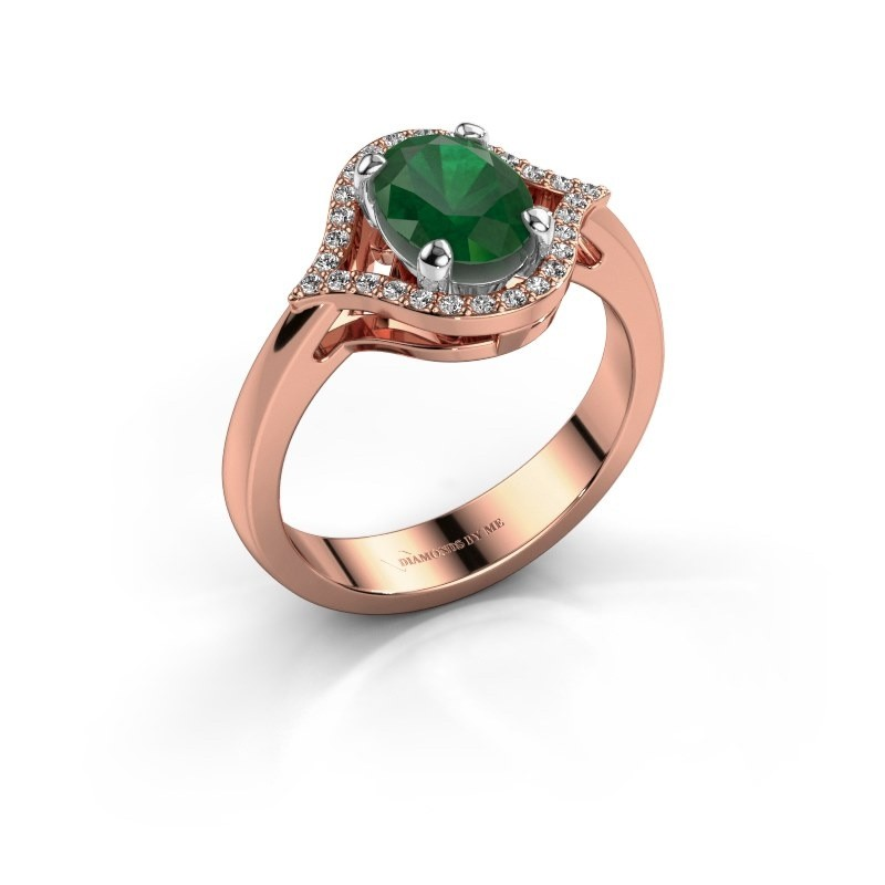 Ring Mendy 585 rosé goud smaragd 8x6 mm