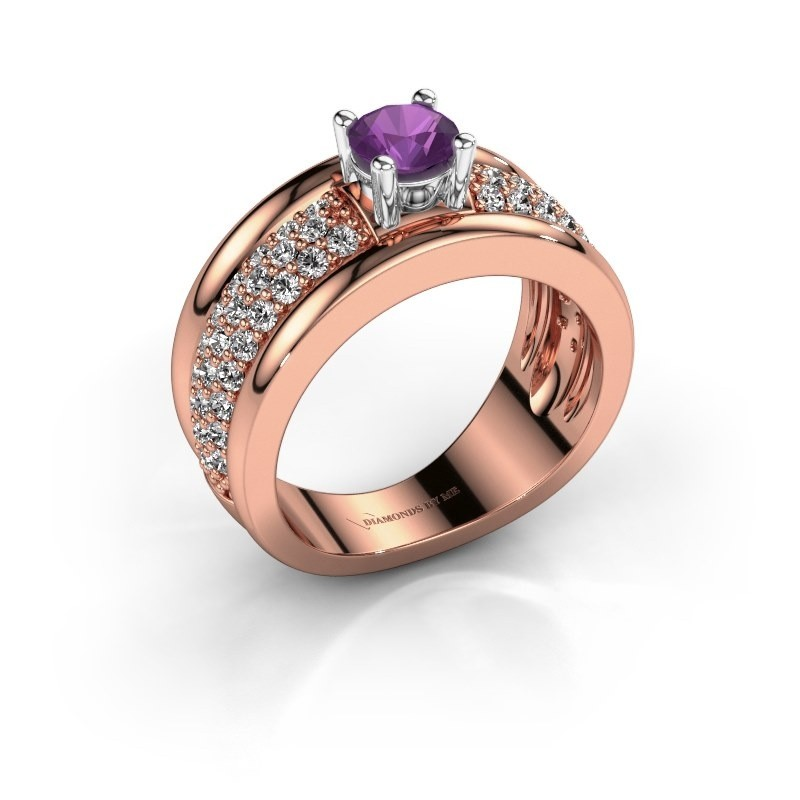 Ring Alicia 585 Roségold Amethyst 5 mm