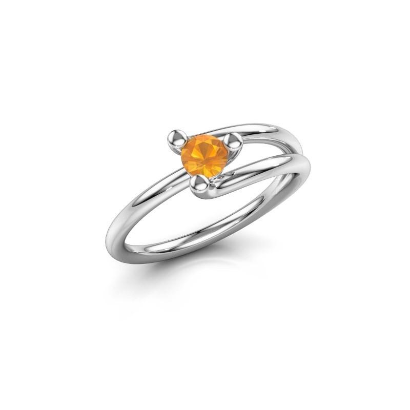 Engagement ring Roosmarijn 585 white gold citrin 4 mm