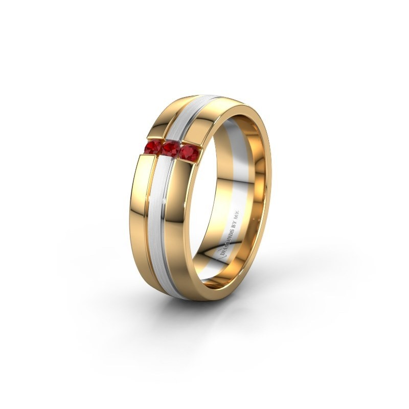 Wedding ring WH0426L26A 585 gold ruby ±6x1.7 mm