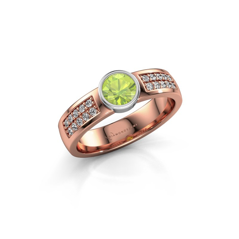 Engagement ring Ise 3 585 rose gold peridot 4.7 mm