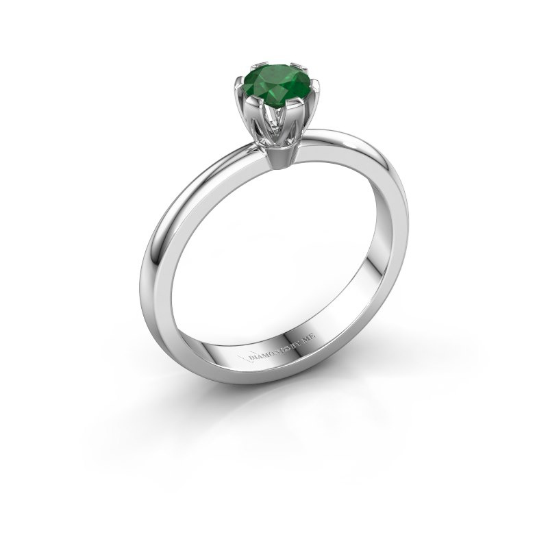 Verlovingsring Julia 950 platina smaragd 4 mm