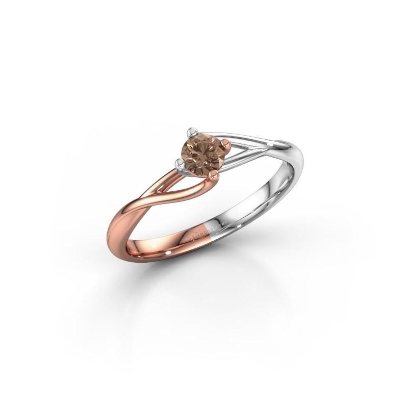 Verlovingsring Paulien 585 rosé goud bruine diamant 0.25 crt