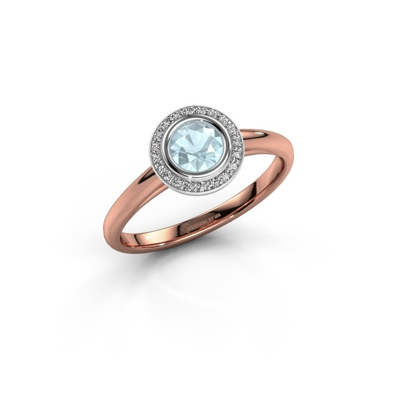 Promise ring Noud 1 RND 585 rose gold aquamarine 4.7 mm