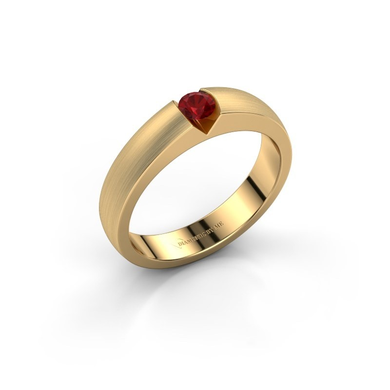 Verlovingsring Theresia 375 goud robijn 3.4 mm