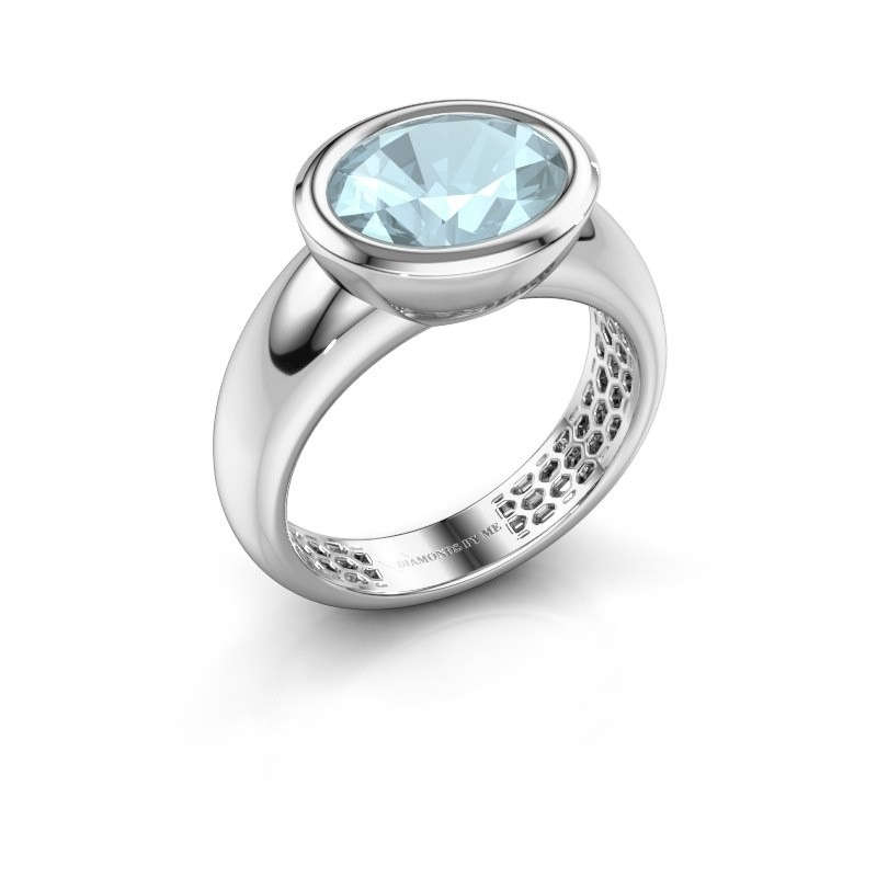Ring Evelyne 925 silver aquamarine 10x8 mm