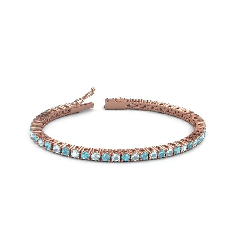 Tennisarmband Jenny 375 rosé goud blauw topaas 3.5 mm