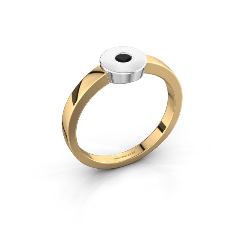 Ring Elisa 585 gold black diamond 0.12 crt