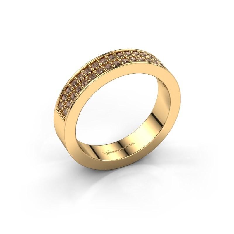 Aanschuifring Catharina 4 375 goud bruine diamant 0.36 crt