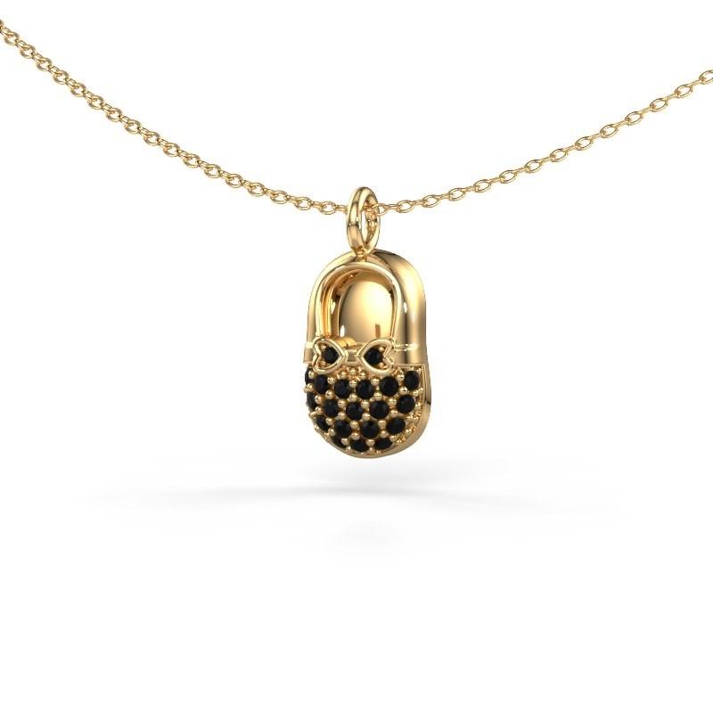 Hanger Babyshoe 585 goud zwarte diamant 0.232 crt