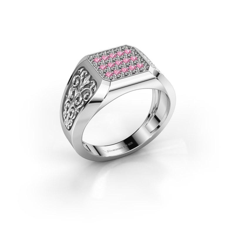 Herrenring Amir 925 Silber Pink Saphir 1.4 mm