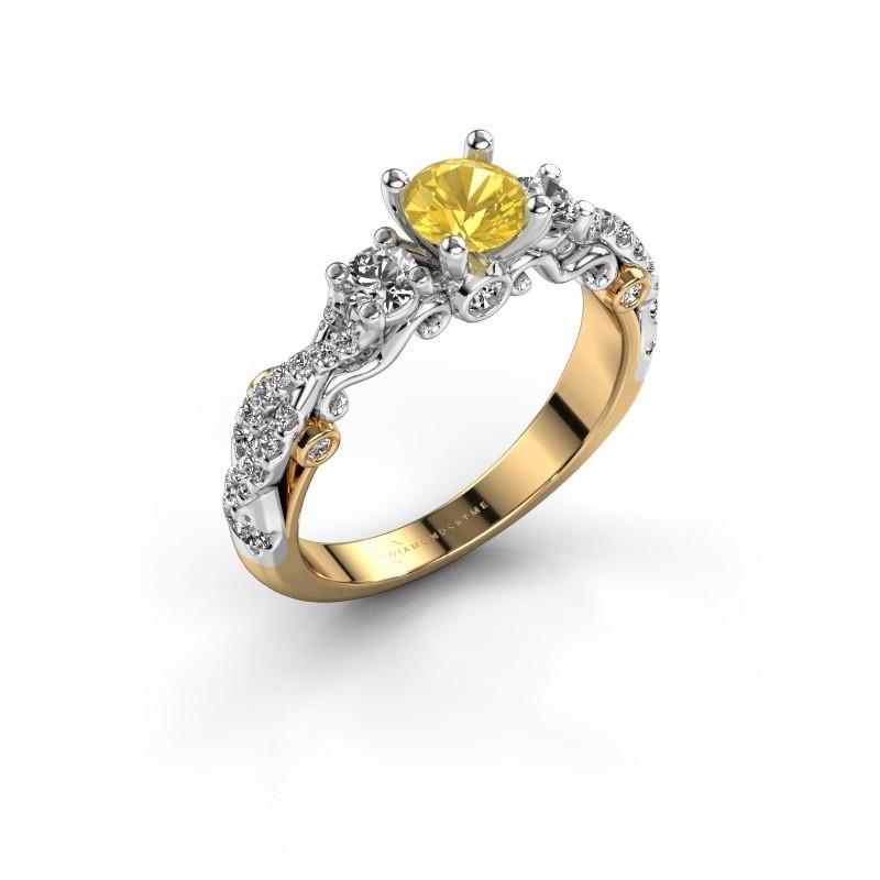 Verlovingsring Kourtney 585 goud gele saffier 5 mm