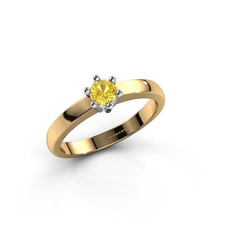 Verlovingsring Luna 1 585 goud gele saffier 3.7 mm