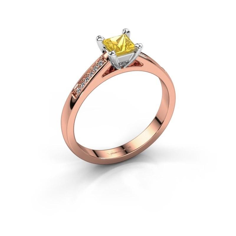 Verlovingsring Nynke SQR 585 rosé goud gele saffier 4 mm