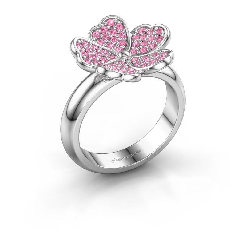 Ring Daphne 950 platinum pink sapphire 1.2 mm