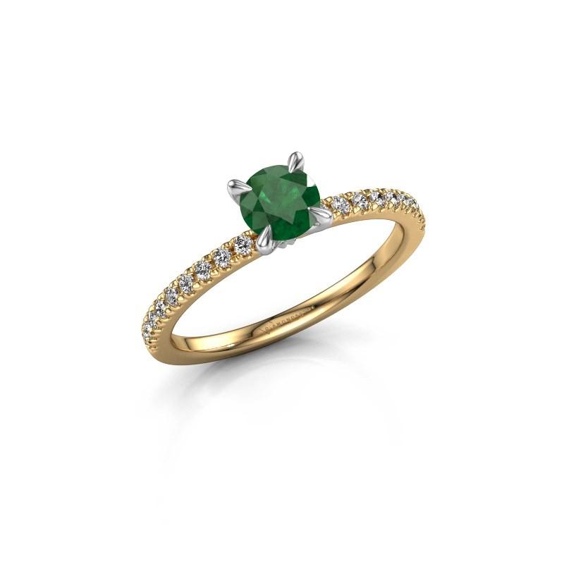 Verlovingsring Crystal rnd 2 585 goud smaragd 5 mm