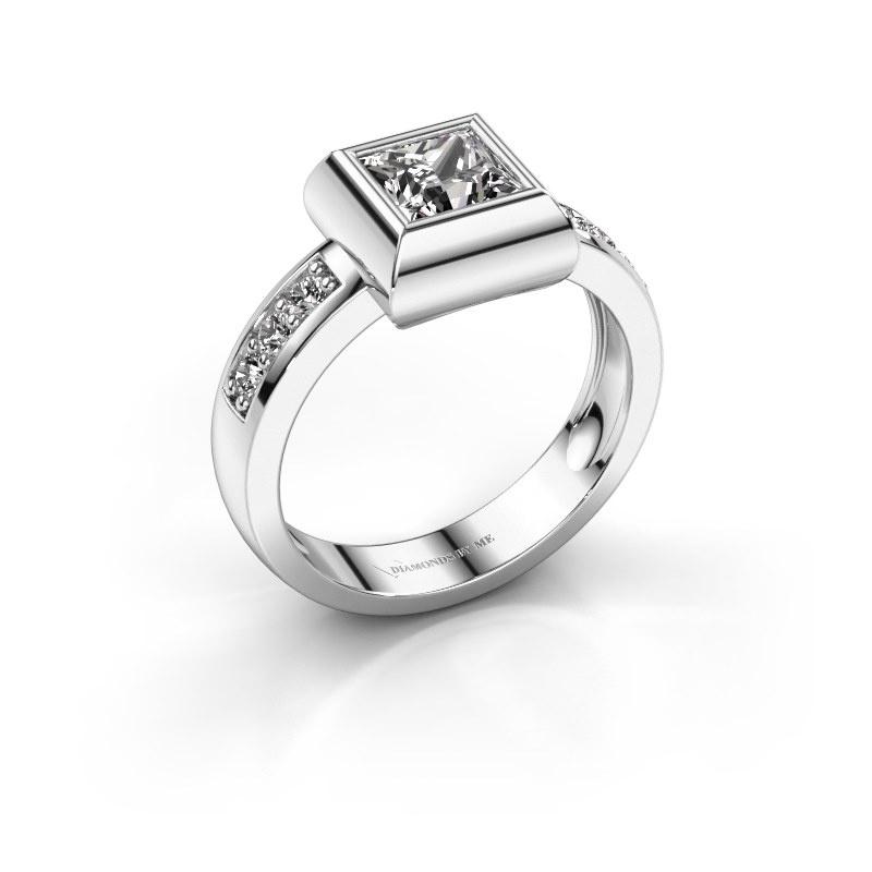 Ring Charlotte Square 925 silver zirconia 5 mm