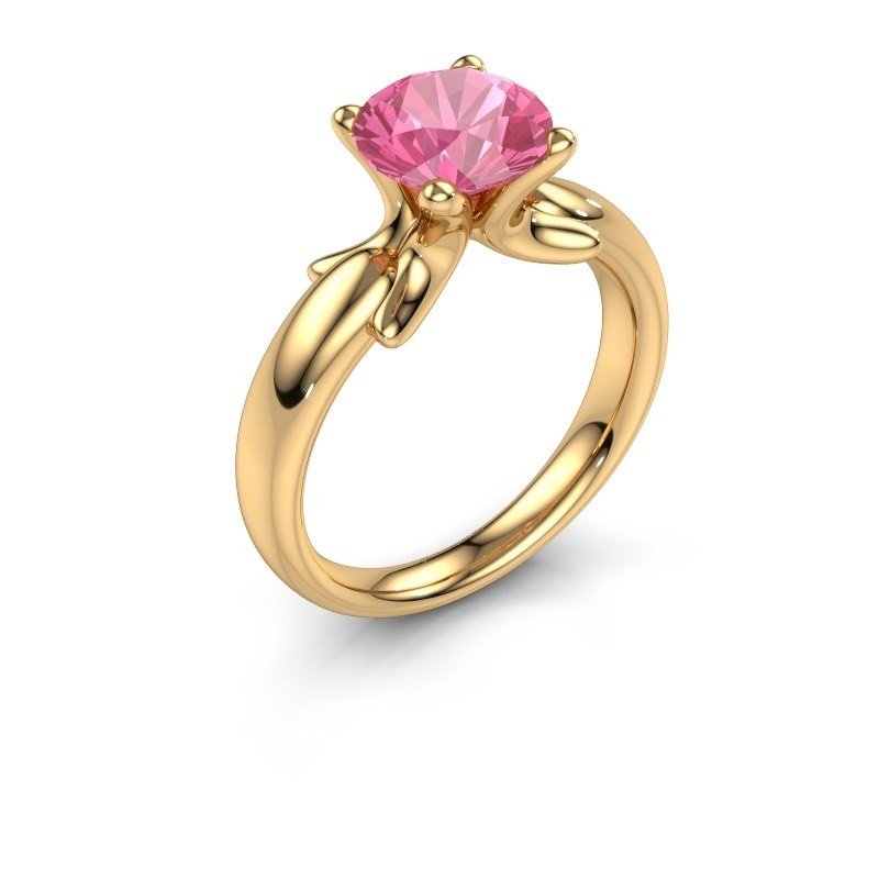 Bague Jodie 585 or jaune saphir rose 8 mm