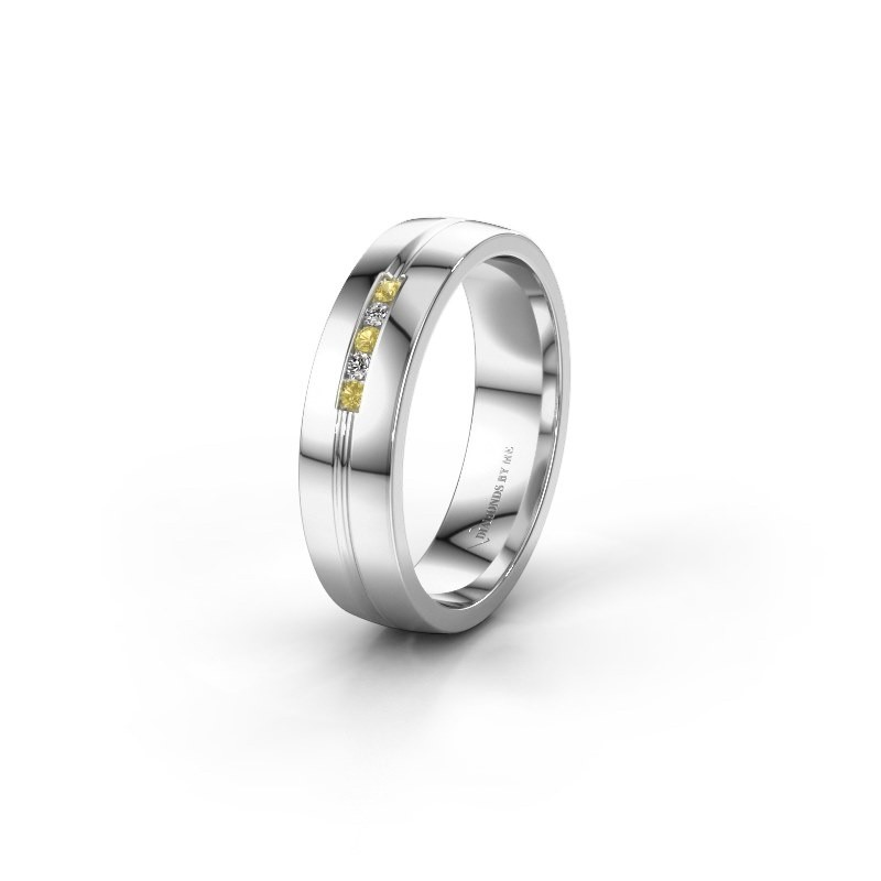Wedding ring WH0132L25B 585 white gold yellow sapphire ±5x2 mm