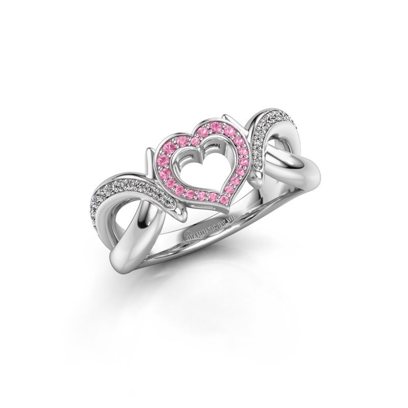 Ring Earlie 2 585 witgoud roze saffier 1.1 mm